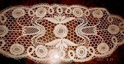Antique handmade bobbin lace table runner~floral motif ~flawless!