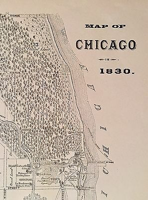 1830 Map of Chicago, (c1880 Reprint For History Of Cook County)