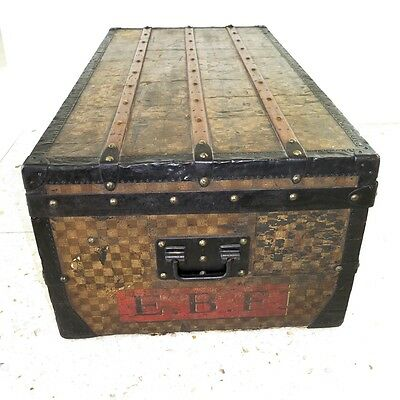 VINTAGE ORIGINAL LOUIS VUITTON IRON TRIM DAMIER STEAMER TRUNK CANVAS 1890s
