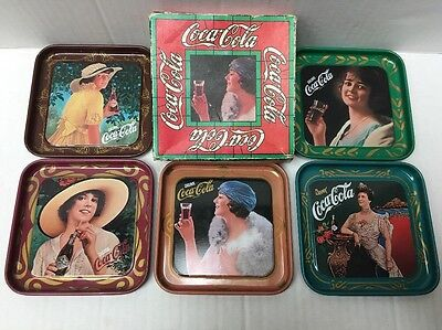 Vintage Coca Cola 5 Tin Beautiful Pictures