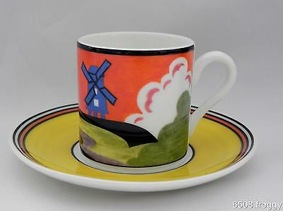 W/WOOD-CLARICE CLIFF-Café Chic Cup/Saucer- WINDMILL - Mint Condition