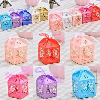 50PCS Love Heart Laser Cut Candy Gift Boxes With Ribbon Wedding Party Favor