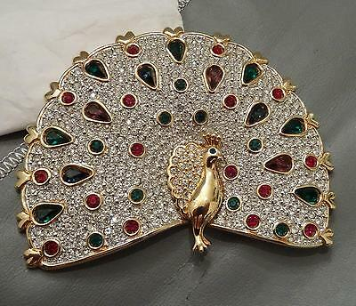 SWAROVSKI CRYSTAL 1980s PEACOCK BEJEWELED BROOCH PIN SAL RARE RETIRED EXCELLENT