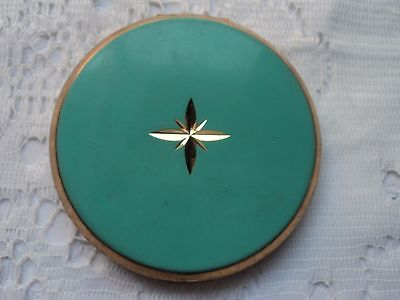 Vintage Stratton compact - Turquoise and goldtone (Made in England)