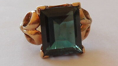 Superb Vintage 1963 Yellow Gold 9ct, Dark Green Tourmaline ring, 7.5 (O), 4.33 g