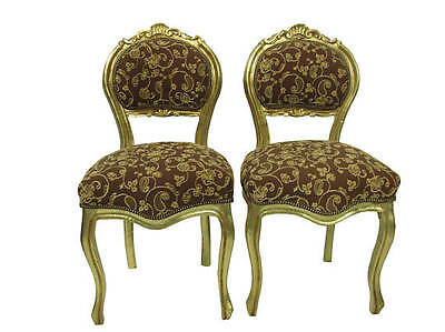 Pair French Gilt Louis XVI Carved Reproduction Chairs Gold Paris Apartment Chair