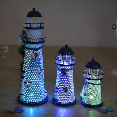 Mediterranean Style Lighthouse Iron Candle LED Light Tower Home Table Decoration