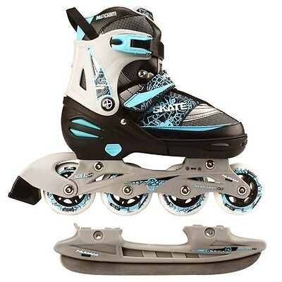 Nijdam Inline Combo Ice Skates39-42 Black/Silver/Blue 52SZ Blades Adjustable