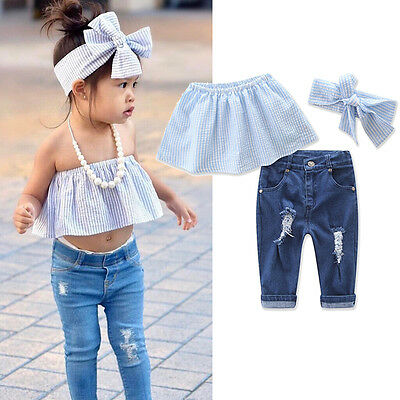 Toddler Baby Girls Kids Jeans Summer Casual Tops+Ripped Denim Pants Outfits Set