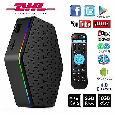 T95Z Plus 4K*2K Dual WiFi Smart TV Box S912 Octa Core 2GB/16GB Android 6.0 1080P