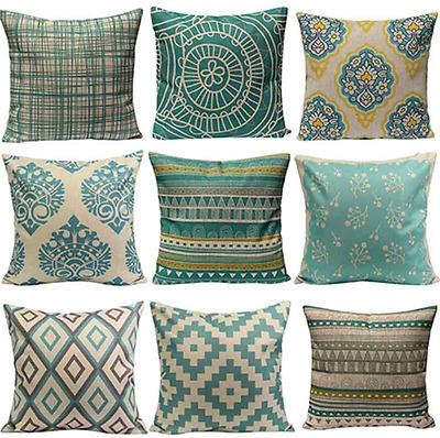 Vintage Cushion Cover Home Sofa Decor Linen Pillow Case Geometric Flower Set Boh