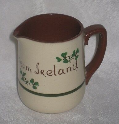 Pottery Ceramic Carrig Ware Irish Shamrock Milk Jug - Torquay Motto Ware Style