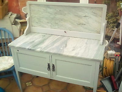 Retro Hand Painted Grey Wash Stand with Marble Top