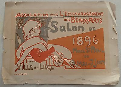 "AFFICHE "" ASSOCIATION ENCOURAGEMENT BEAUX ARTS ""  berchmans - SALON 1896 à LIEGE"