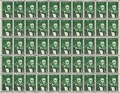 1959 - BEARDLESS LINCOLN - #1113 Full Mint Sheet of 50 Vintage Postage Stamps