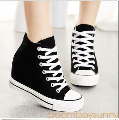 Womens Wedge High Top Canvas Fashion Lace Up Hidden Sneakers Athletic Shoes