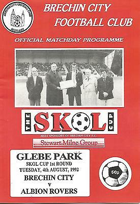 Football Programme - Brechin City v Albion Rovers - Scottish League Cup - 1992