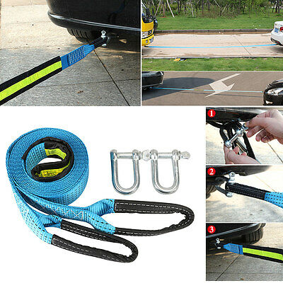 3M Heavy Duty 8 Tons Car Towing Trailer Rope Strap Tow Cable &  Hooks Emergency