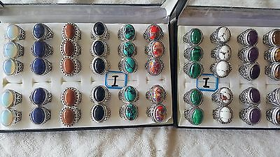 Joblot of 50 pcs Mixed Real stone Antique design fashion Rings - NEW Wholesale I