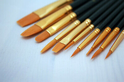 Model Paint Brushes Set 10pc  - Synthetic hair - Acrylic Enamel Suitable