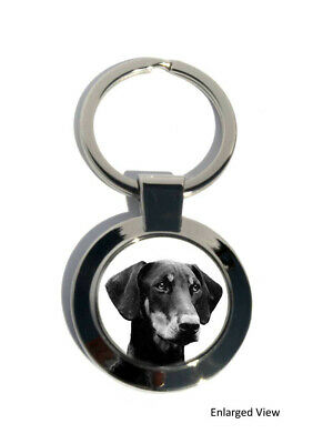 Doberman Dog Round Chrome Plated Keyring Boxed Gift, Key Fob