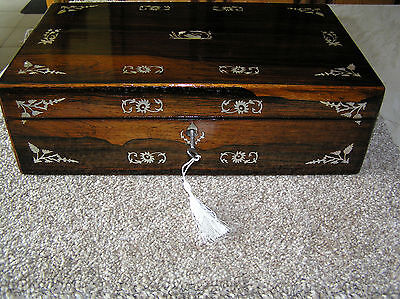 Antique Victorian Rosewood Writing Slope With Mop Inlay (1871) Lock & Key.