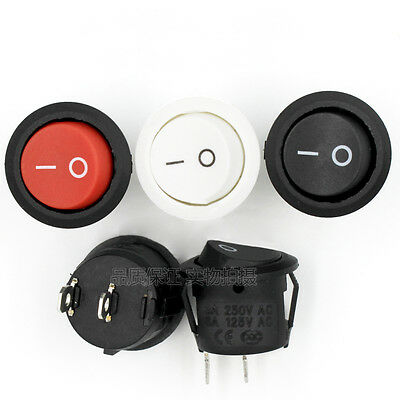 2Pin On-Off 15mm Small Round Rocker Switch SPST 3A 250V White Black Red Boat