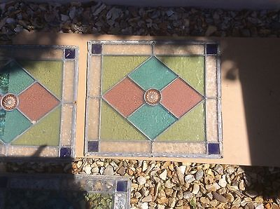 vintage leaded stained glass panels (4)
