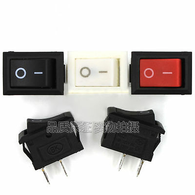 2Pin Small Mini Rectangle Rocker Switch On/Off SPST 6A 250V Red White Black Boat