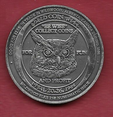 1986 Wildwood Alberta SILVER Trade Dollar - Coin Week/Owl - ONLY 25 MINTED!! #8