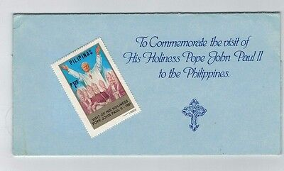 FDC COVER PHILIPPINES VISIT OF POPE JOHN PAUL II SET Including Folder and MH