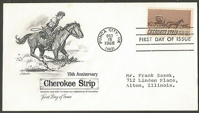Us Fdc 1968 Cherokee Strip 6C Stamp Artmaster First Day Of Issue Cover Ponca Cit
