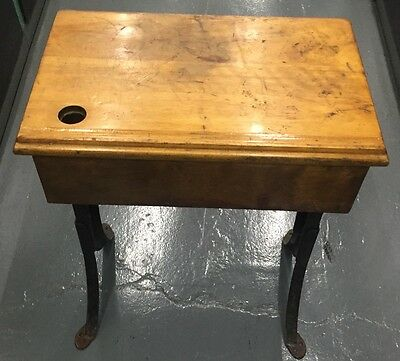 School Desk With Ink Hole Used