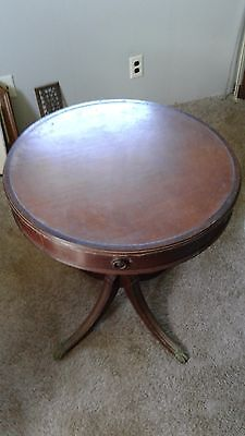 Antique Round Top Leather Mahogany  Table .