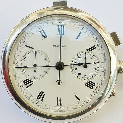 MONTRE GOUSSET ARGENT PRIVILEGE CHRONOGRAPHE RATTRAPANTE FLYBACK - Pocket Watch
