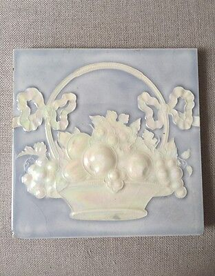 Antique High-Relief Pressed 6 X 6 Tile-- Lovely Iridescent Fruit in Basket-- #6