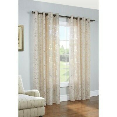 "Commonwealth Charlotte 84"" Grommet Curtain Panel in Taupe"