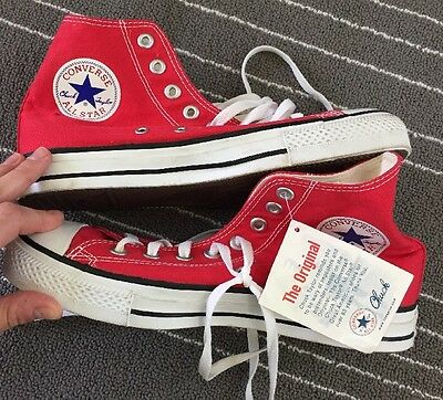 VTG CONVERSE ALL STAR CHUCK TAYLOR Red New MADE IN USA HIGH TOPS 6 1/2