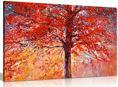 Abstract Oil Painting Red Autumn Tree Modern Canvas Wall Art Picture Print