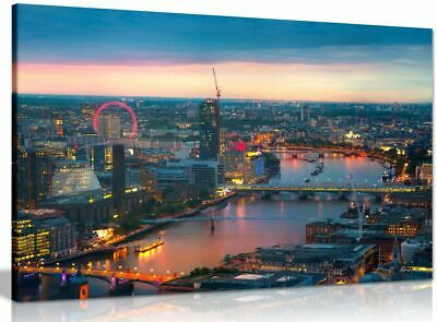 London Sunset, Panoramic View Canvas Wall Art Picture Print