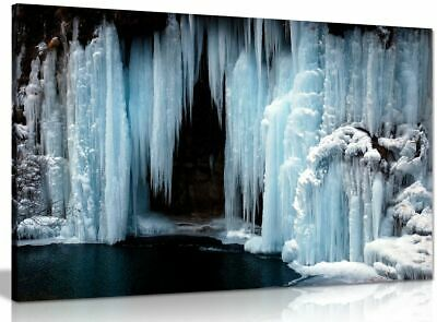 Frozen Waterfall Canvas Wall Art Picture Print