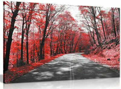 Black & White Road Trees Red Leaves Canvas Wall Art Picture Print