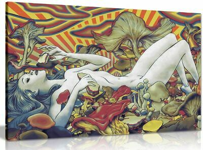 Psychedelic Trippy Art Girl Mushrooms Canvas Wall Art Picture Print