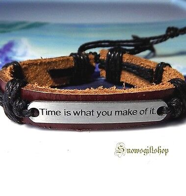 """Men's """"Time is What you Make of It"""" Leather Surfer Hip Hop Bracelet Wristband"""