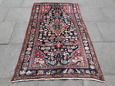 Old Traditional Hand Made Persian Rug Oriental Rug Wool Blue Rug 200x128cm