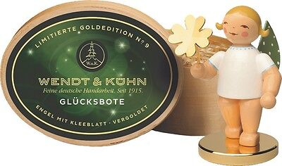 Wendt & Kuhn German Christmas Wooden Figurine Limited Ed. Angel with Gold Clover