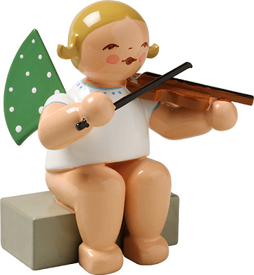 Wendt & Kuhn German Christmas Wooden Figurine Sitting Angel Playing Violin