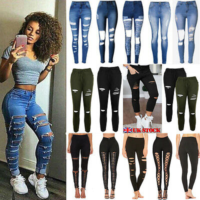 New Womens Ladies Celeb Stretch Ripped Skinny High Waist Denim Pants Jeans 6-14