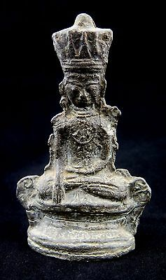 Antique Shan Burmese Lead Buddha Stupa Offering Collectible Art Statue Figure