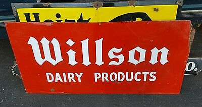 Vintage Porcelain Willson Dairy Products Sign 54x26 Gas Oil Ice Cream Soda Pop